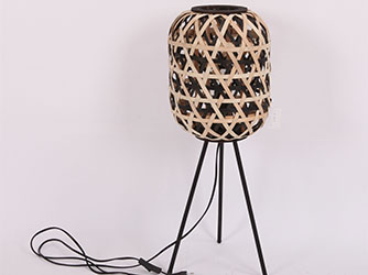 lamp with black metal and wooden lampshade