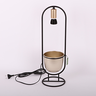 black metal with pot and lamp holder