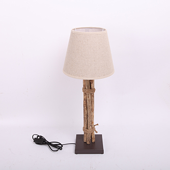 brown metal lamp with nonwovens shade