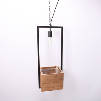 reclaimed wooden hanging flower pot with electric cord excl.bulb