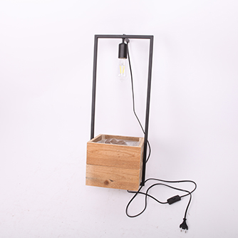 black metal with reclaimed wooden flower pot with electric cord